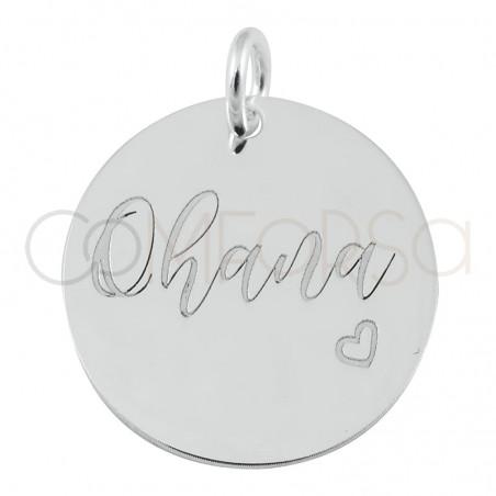 """Colgante chapa """"Ohana"""" 17 mm plata 925 chapada en oro"""