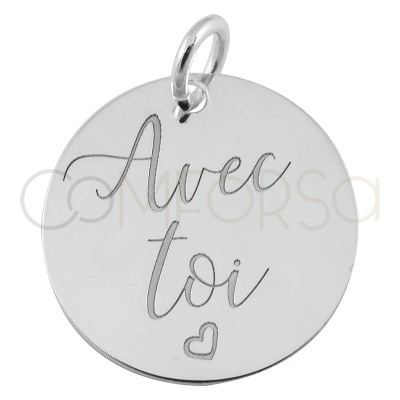 """Sterling silver 925 gold-plated pendant """"Avec Toi"""" 17mm"""