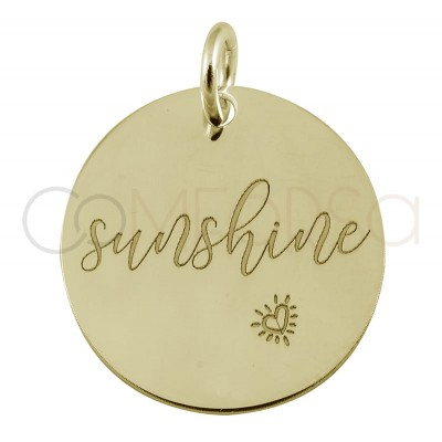 """Sterling silver 925 gold-plated pendant """"Sunshine"""" 17mm"""