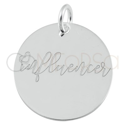 "Colgante chapa ""Influencer"" 17 mm plata 925"
