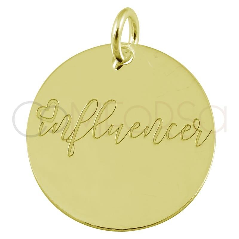 "Colgante chapa ""Influencer"" 17 mm plata 925 chapada en oro"