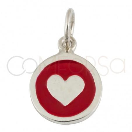 Sterling silver 925 heart enamelled pendant 20mm
