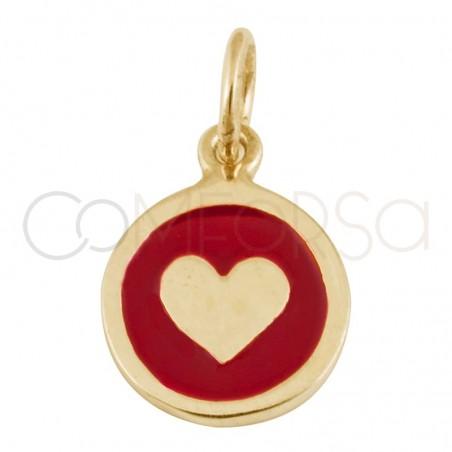 Colgante chapa corazón con esmalte 10 mm plata 925