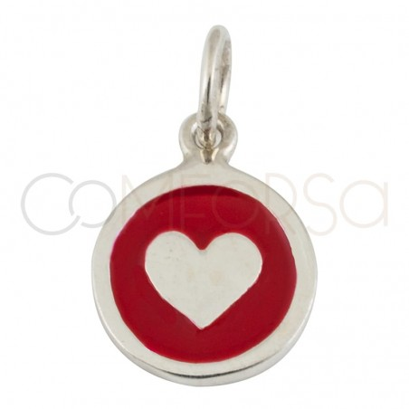 Sterling silver 925 gold-plated heart enamelled pendant 20mm