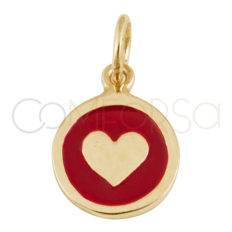 Colgante chapa corazón con esmalte 10 mm plata chapada en oro