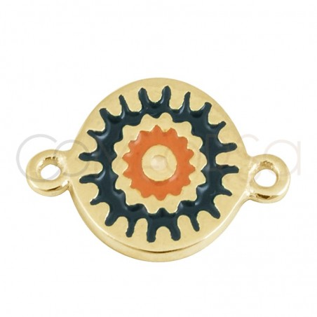 Sterling silver 925 gold-plated mandala green connector 10 mm
