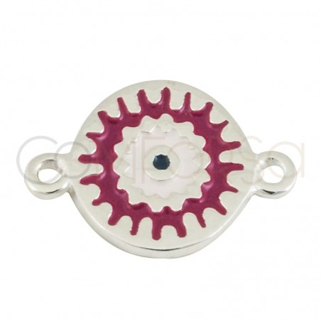 Sterling silver 925 gold-plated mandala fuschia connector 10 mm