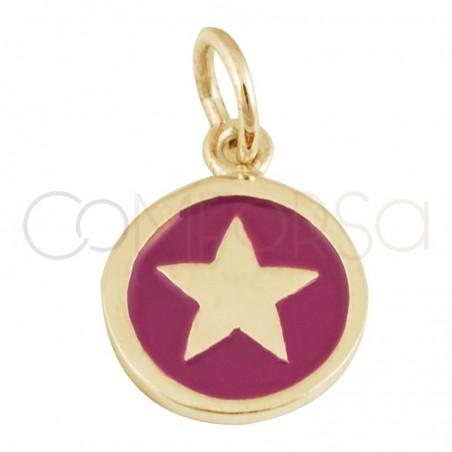 Colgante chapa estrella esmalte 10 mm plata chapada en oro