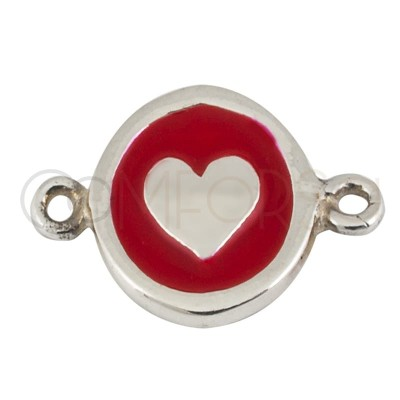 Sterling silver 925 gold-plated heart enamelled connector 10 mm