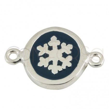Sterling silver 925 enamelled snowflake pendant 10mm