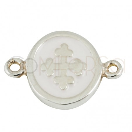 Sterling silver 925 enamelled cross connector 10 mm