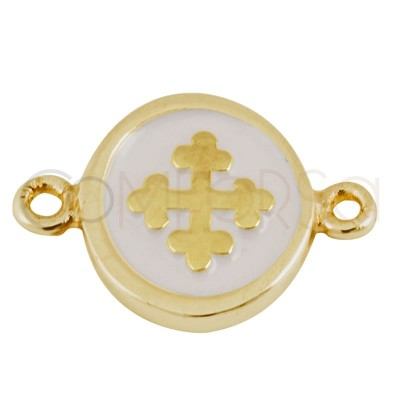 Sterling silver 925 gold-plated enamelled cross connector 10 mm