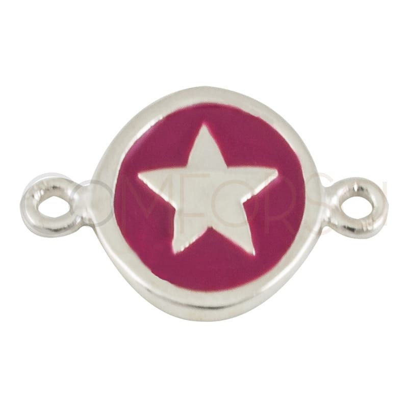 Sterling silver 925 enamelled star connector 10 mm