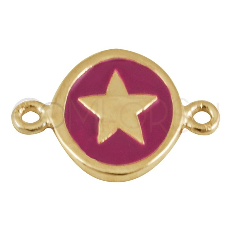 Sterling silver 925 gold-plated enamelled star connector 10 mm