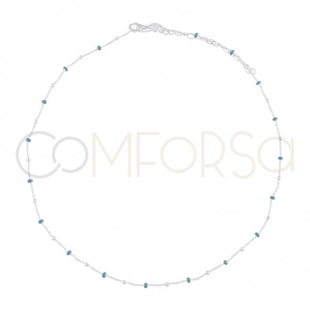 Sterling silver 925 chain with silver blue enamelled beads 40cm