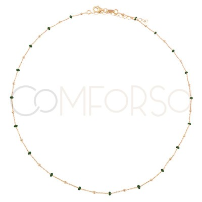 Sterling silver 925 gold-plated chain with green enamelled balls 40+5cm