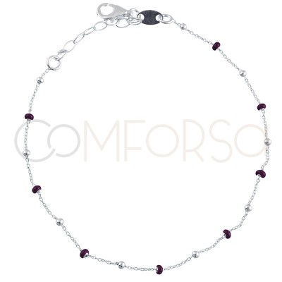 Sterling silver 925 gold-plated bracelet with wine enamelled beads 18+3cm