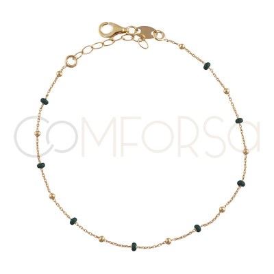 Sterling silver 925 gold-plated bracelet with dark green enamelled beads 18+3cm