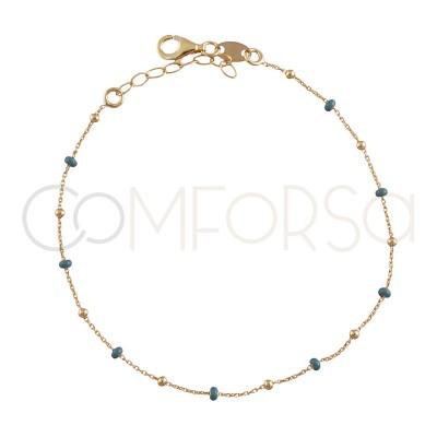 Sterling silver 925 gold-plated bracelet with blue enamelled balls 18+3cm
