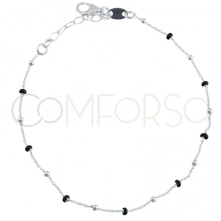Sterling silver 925 gold-plated bracelet with black enamelled beads 18+3cm