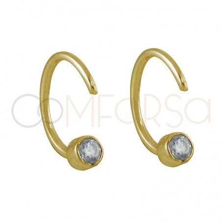 Pendientes media criolla con circonita plata chapada en oro