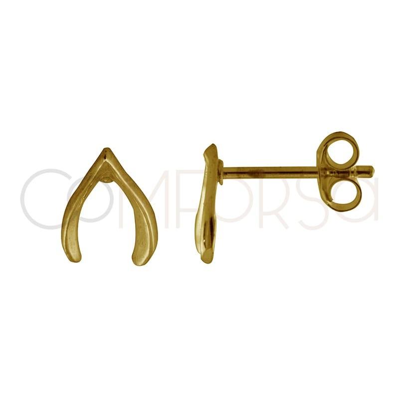 Sterling silver 925 gold-plated wishbone earrings