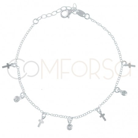 Sterling silver 925 gold-plated bracelet with crosses and zirconias 18+3cm