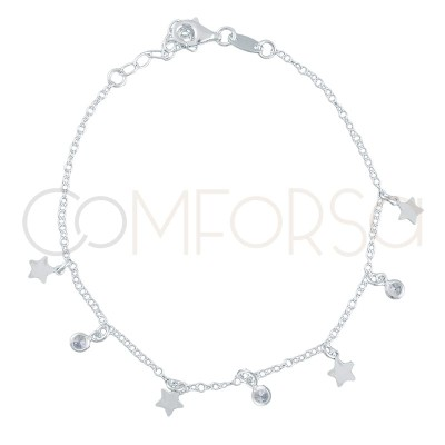 Sterling silver 925 gold-plated bracelet with stars and zirconias 18+3cm