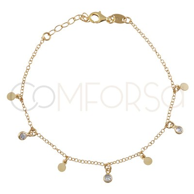 Sterling silver 925 gold-plated bracelet with pendants and zirconias 18+3cm