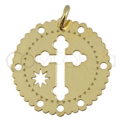 Colgante cruz y estrella 20 mm plata 925 chapada en oro