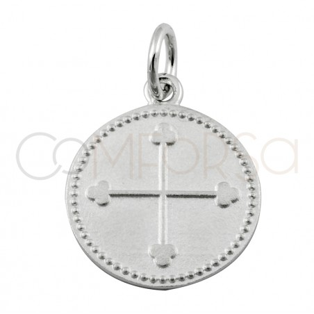Sterling silver 925 matte cross with points 15mm