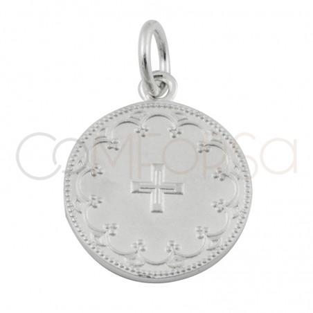 Sterling silver 925 floral matte cross 15mm