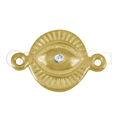Sterling silver 925 gold-plated Turkish eye connector with zirconia 9mm