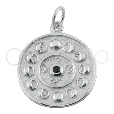 Sterling silver 925 lunar phase pendant with black zirconia 20mm
