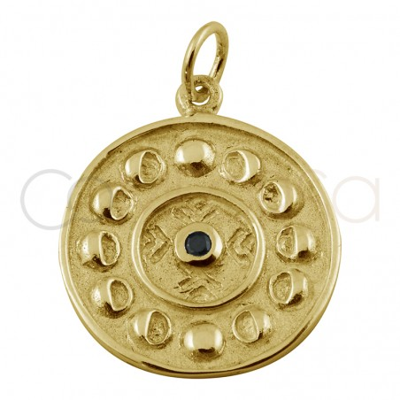 Sterling silver 925 gold-plated lunar phase pendant with black zirconia 20mm