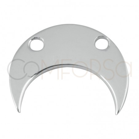 Sterling silver 925 half-moon with two drill holes 11.5 x 10 mm