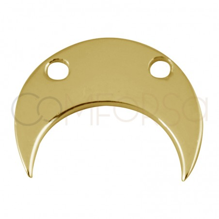 Sterling silver 925 gold-plated half-moon with two drill holes 11.5 x 10 mm