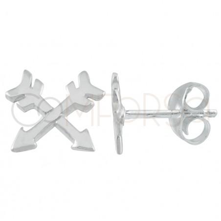 Sterling silver 925 gold-plated crossed friendship arrow earrings 7 x 7mm