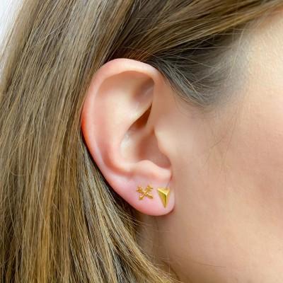 Sterling silver 925 friendship arrow earrings 7 x 7mm