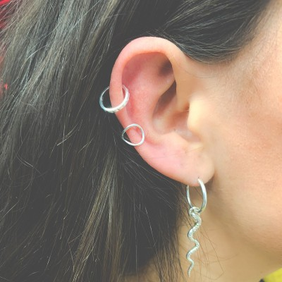 Sterling silver 925 spikes ear cuff