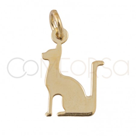 Sterling silver 925 gold-plated Egyptian Cat pendant 10 X 14 mm