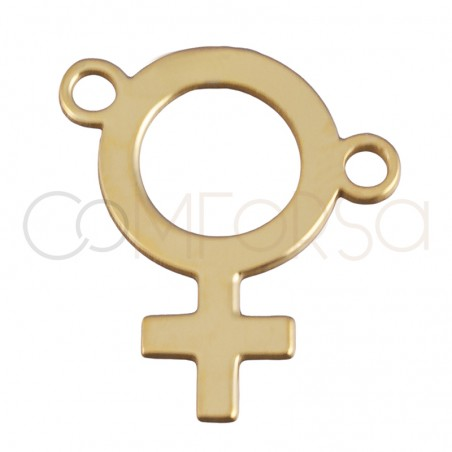 Sterling silver 925 gold-plated asymmetrical woman symbol pendant 13.5 x 15 mm