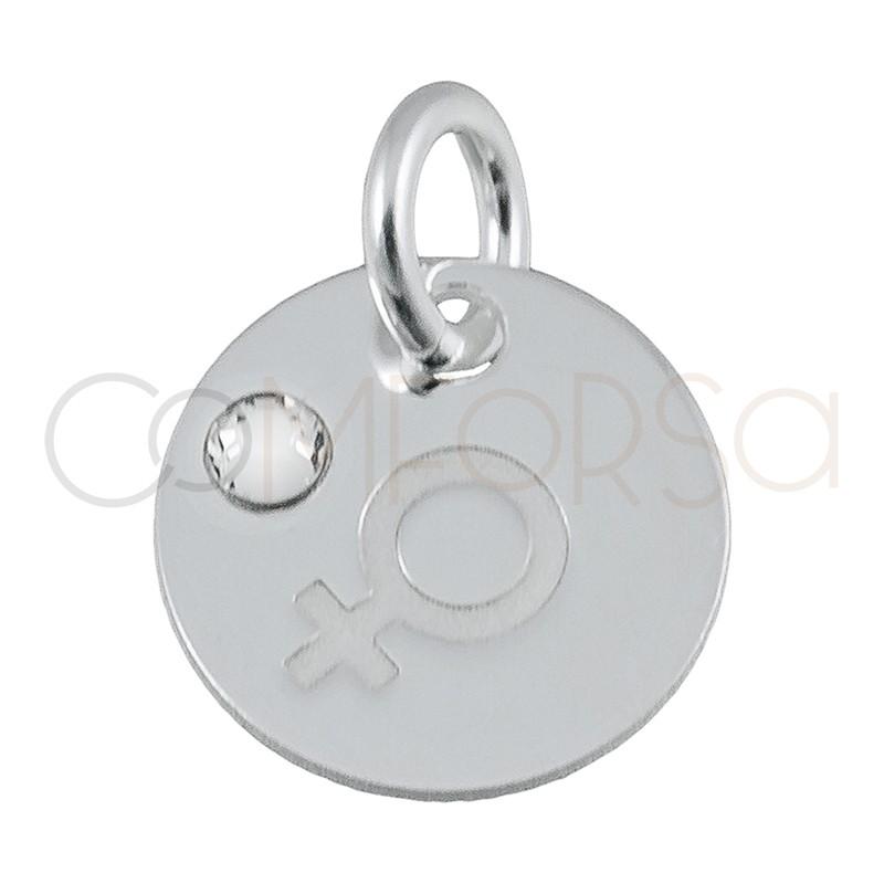 Chapa símbolo de la mujer strass 11mm plata 925
