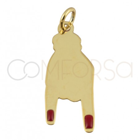 Sterling silver 925 gold-plated rocker hand pendant 9 x 21 mm