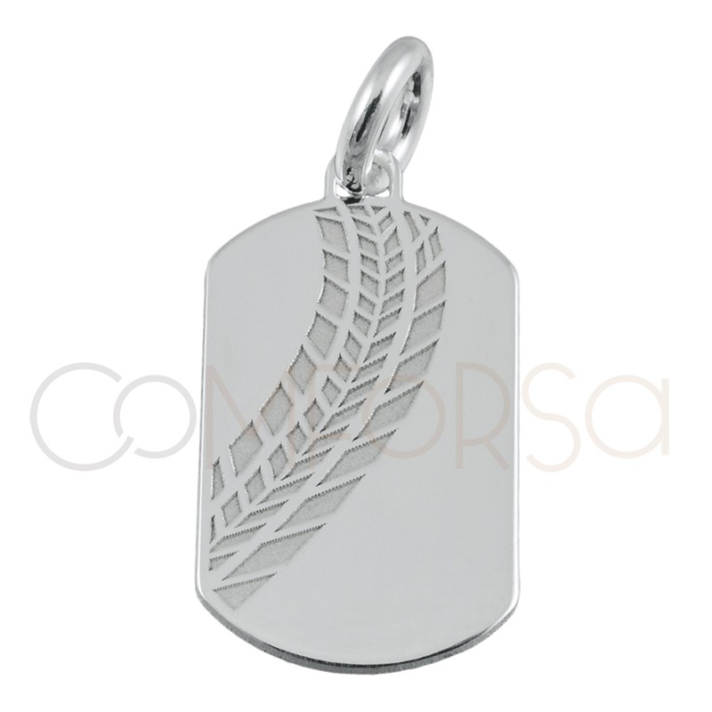 Sterling silver 925 tire print pendant 10 x 18 mm