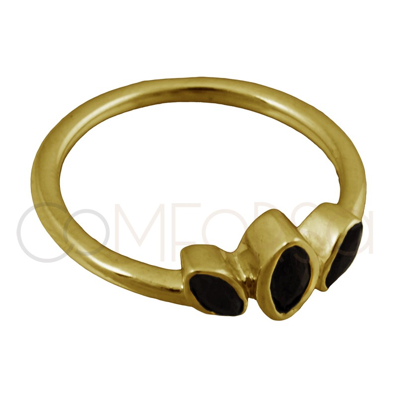 Sterling silver 925 gold-plated ring with black zirconia leaves