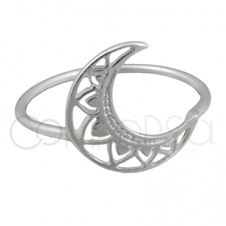 Sterling silver 925 moon mandala ring