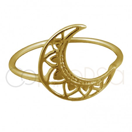 Sterling silver 925 gold-plated moon mandala ring