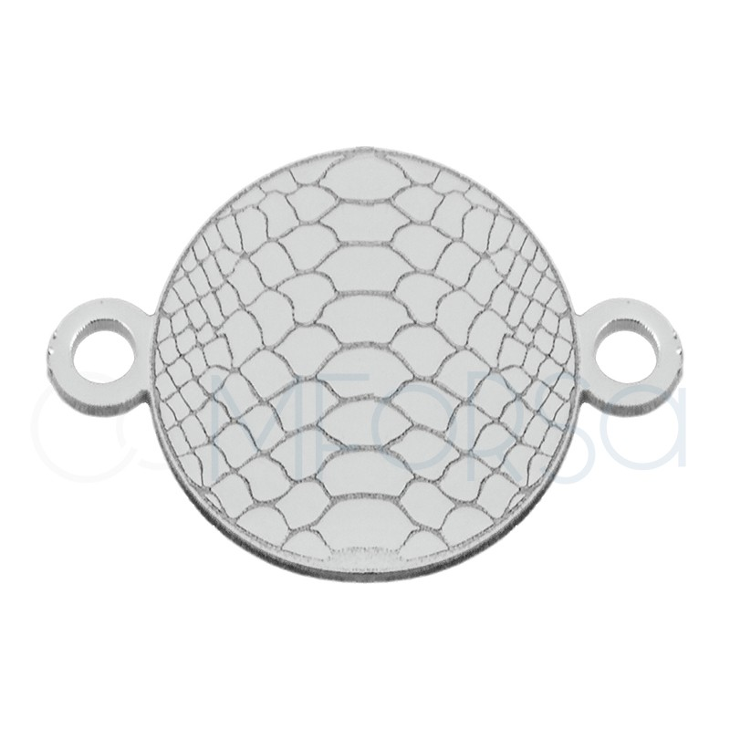 Sterling silver 925 snakeskin print connector 10 mm
