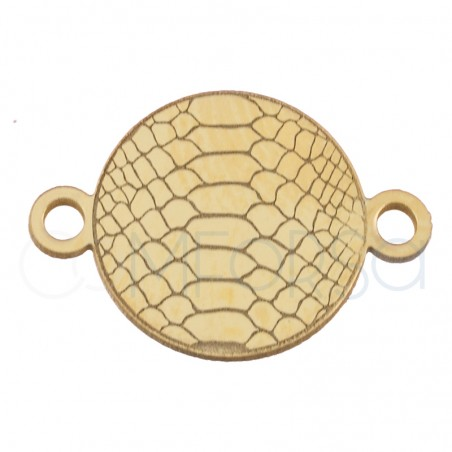 Sterling silver 925 gold-plated snakeskin print connector 10 mm